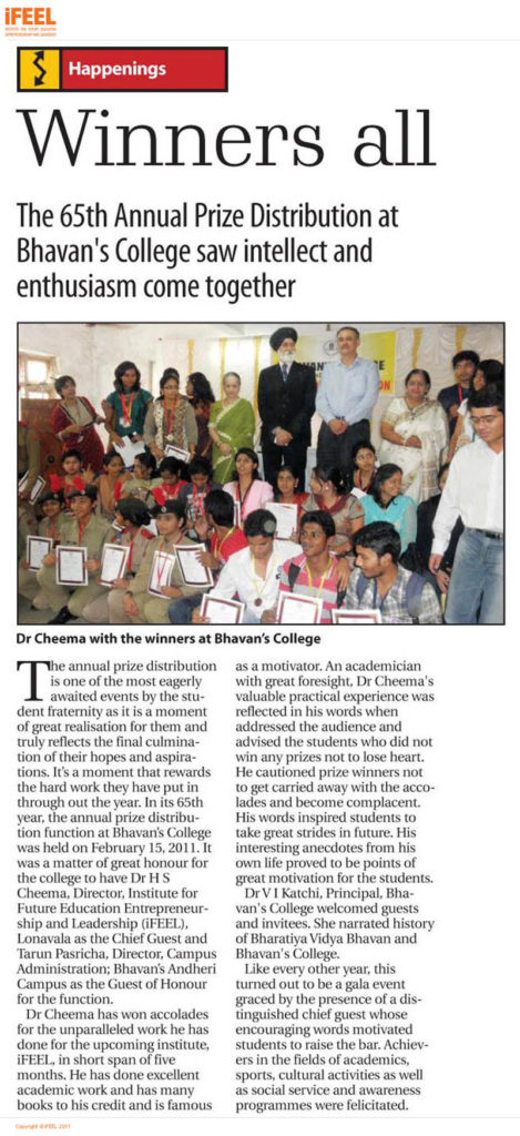 Dr Cheema Chief Guest at Bhavans College