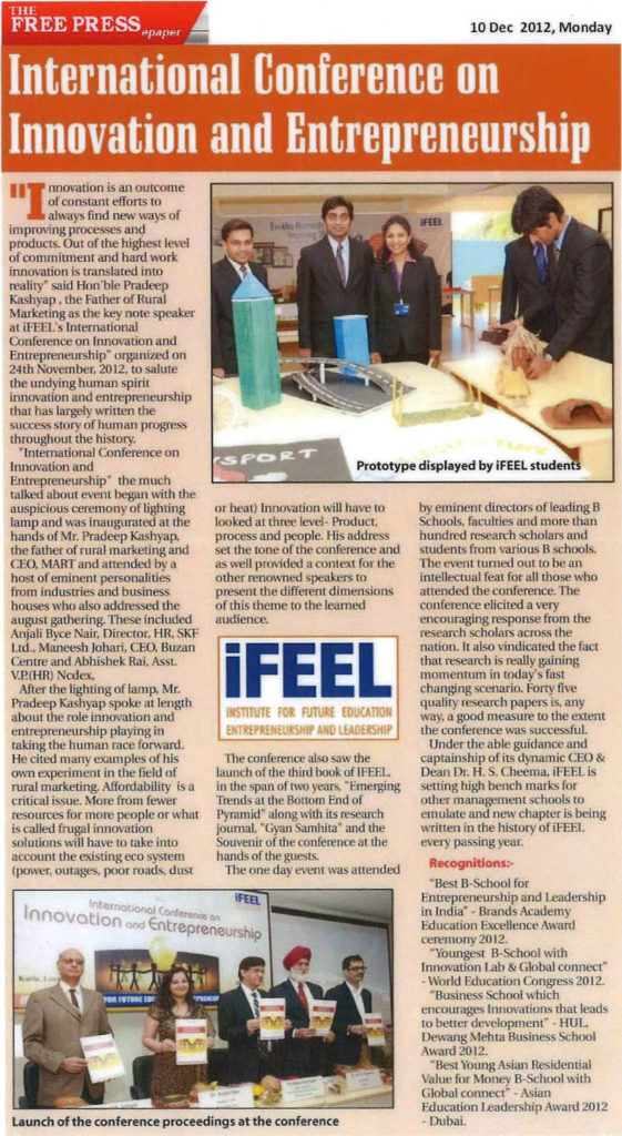 The Free Press Journal - International Conference on Innovation and Entrepreneurship