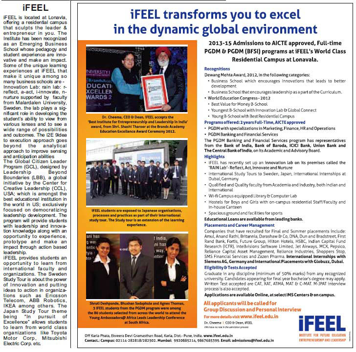Hindustan Times - Admissions to iFEEL